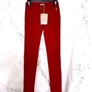 NWT Galliano red stretch pants silk lined pocket
